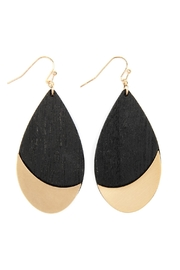 Riah Fashion Satin Metal Wood-Teardrop-Earrings - Product Mini Image