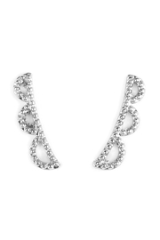 Riah Fashion Scallop-Design Earring Crawlers - Front cropped