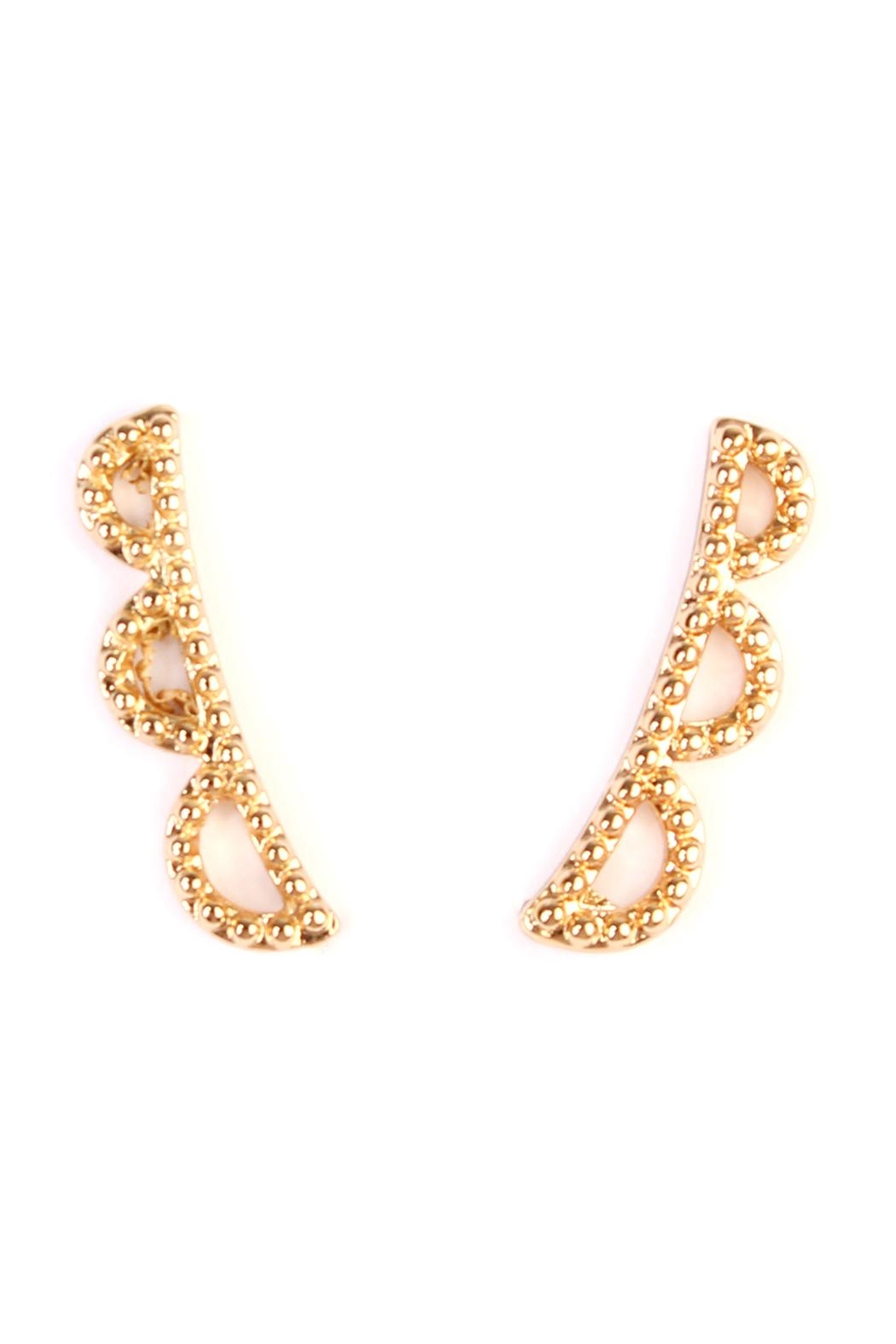 Riah Fashion Scallop-Design Earring Crawlers - Front Cropped Image