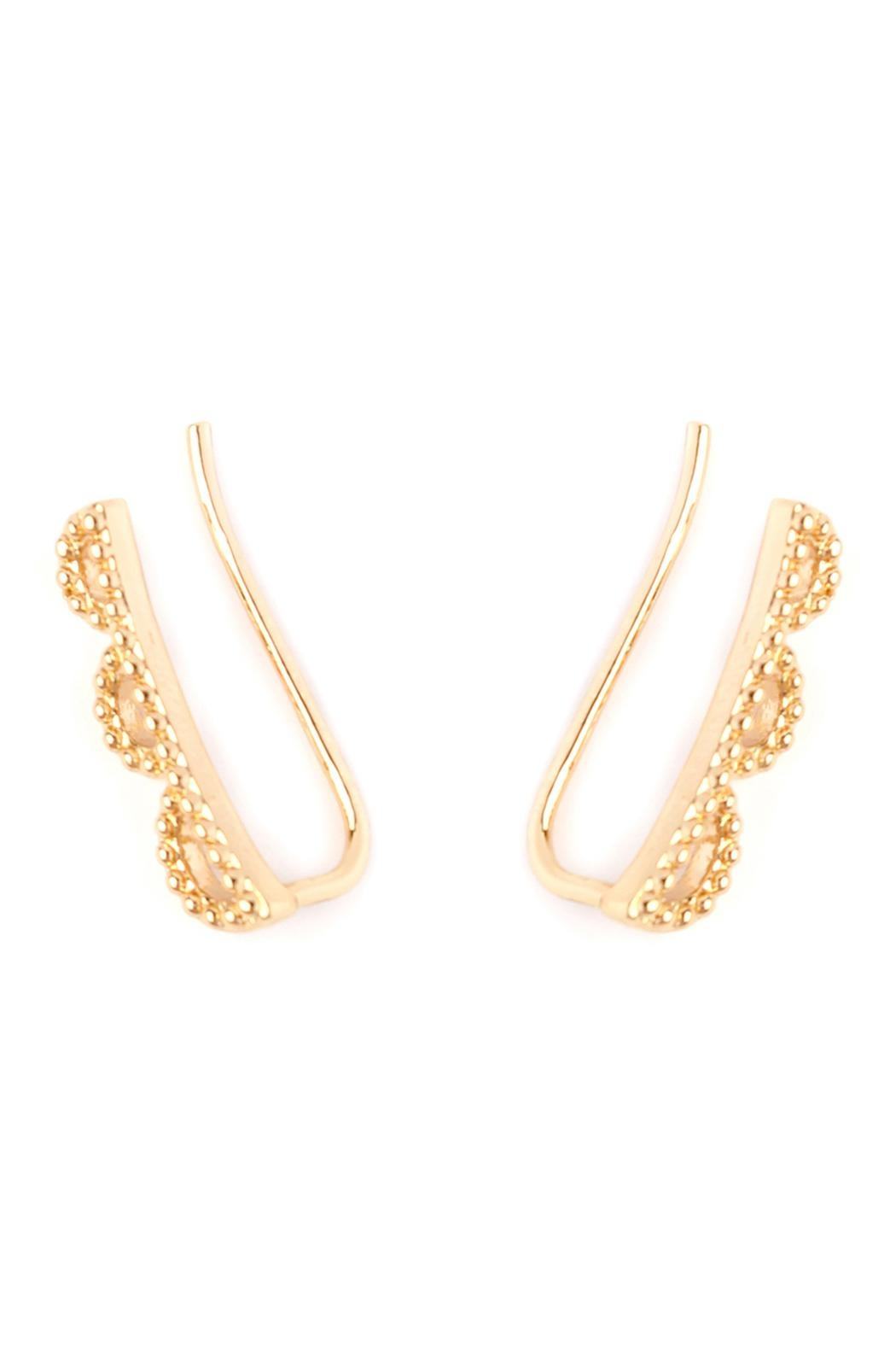 Riah Fashion Scallop-Design Earring Crawlers - Front Full Image