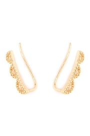 Riah Fashion Scallop-Design Earring Crawlers - Front full body