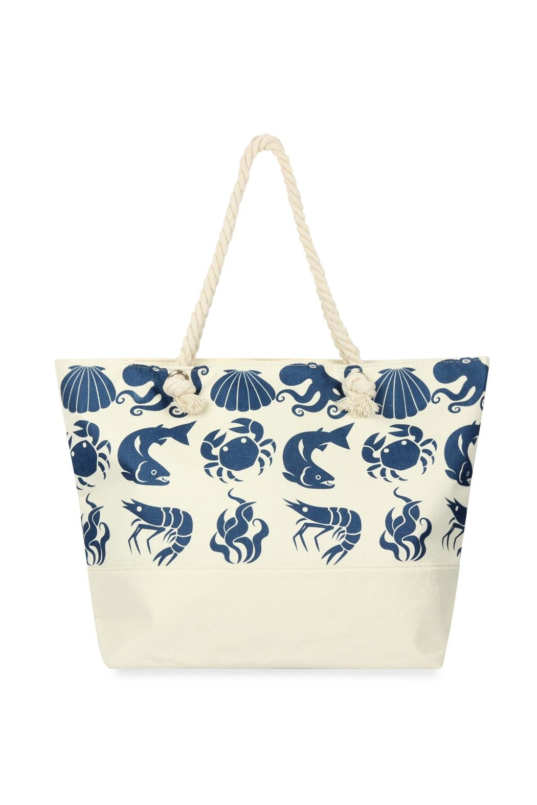 Riah Fashion Sea Creatures Printed Tote Bag - Front Cropped Image