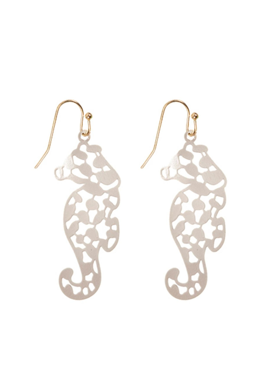 Riah Fashion Sea-Horse-Filigree-Fish-Hook-Earrings - Front Cropped Image