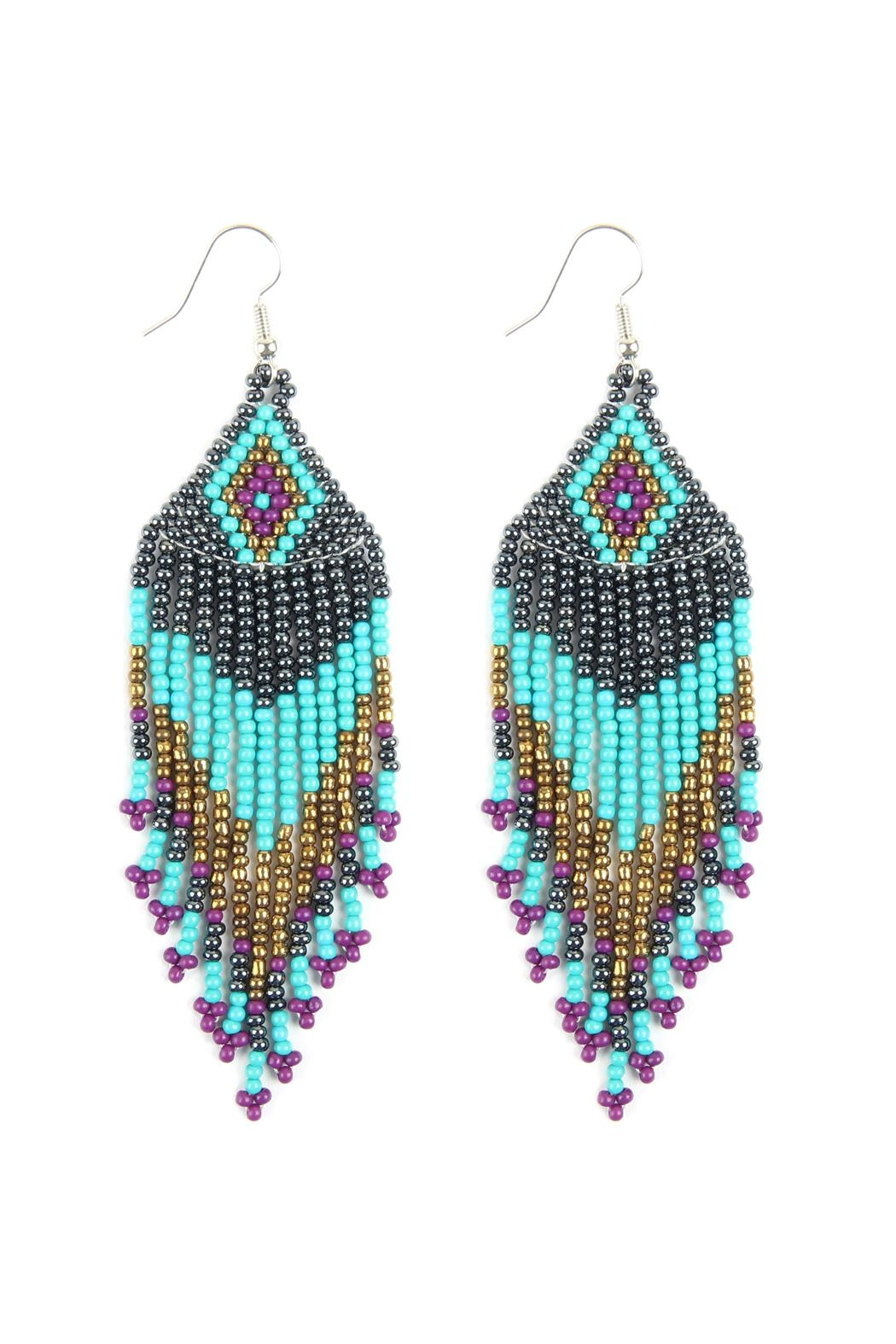 Riah Fashion Seed Beads Dangle-Earrings - Front Cropped Image