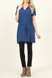 Riah Fashion Self-Tie Waist-Pocket Tunic-Blouse - Product Mini Image