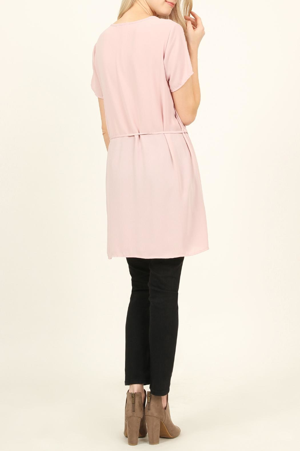 Riah Fashion Self-Tie Waist-Pocket Tunic-Blouse - Front Full Image