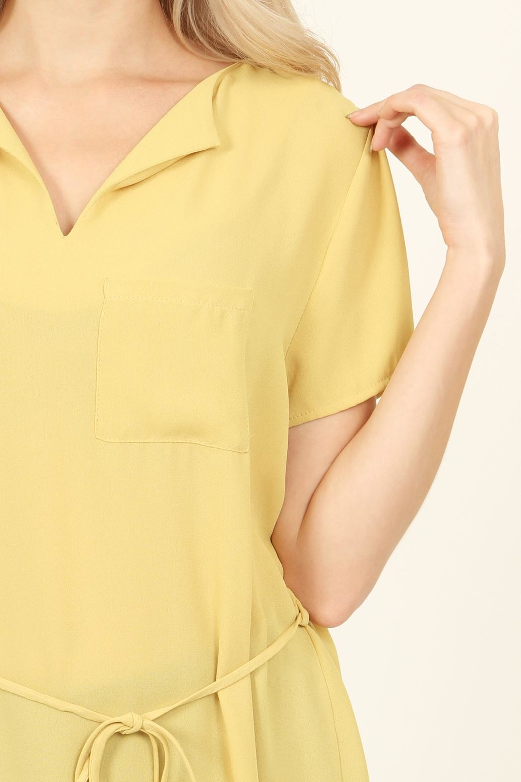 Riah Fashion Self-Tie Waist-Pocket Tunic-Blouse - Side Cropped Image
