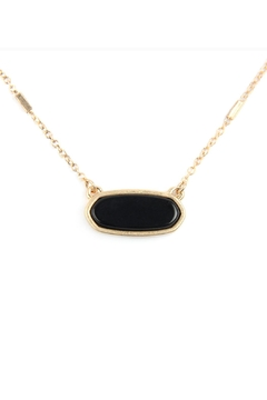 Riah Fashion Semi Precious Oval Stone Necklace - Product List Image