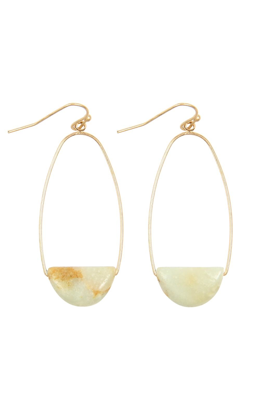Riah Fashion Semi Precious-Stone Hoop-Earrings - Front Cropped Image