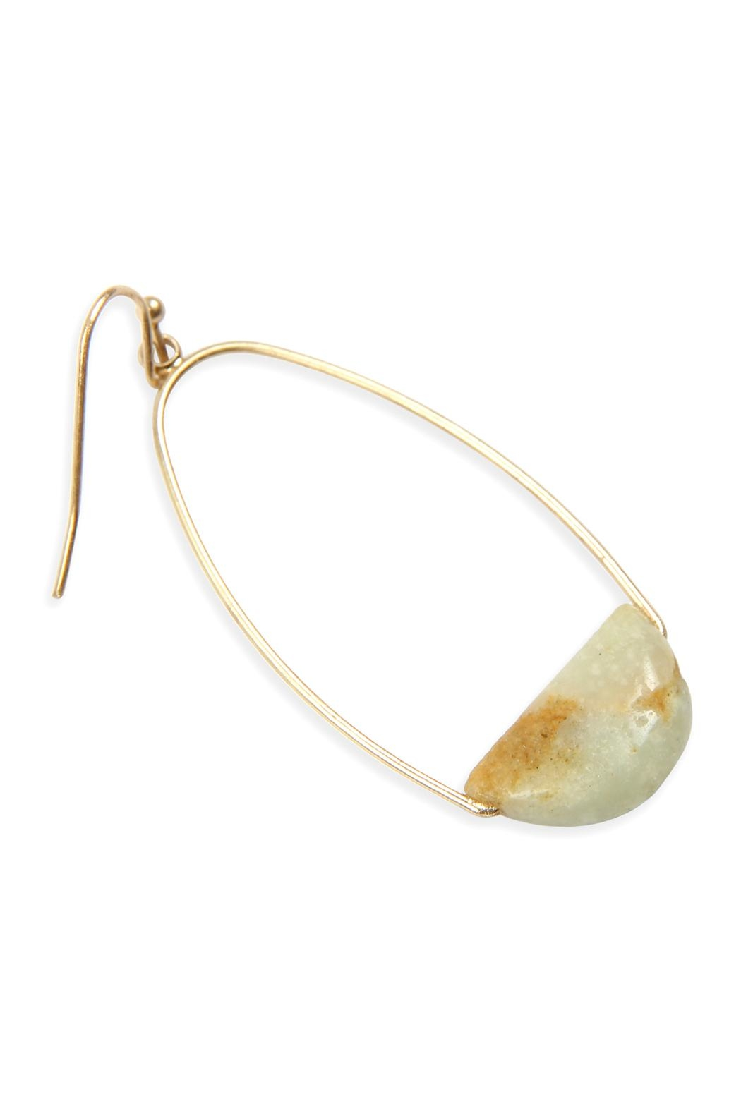 Riah Fashion Semi Precious-Stone Hoop-Earrings - Front Full Image