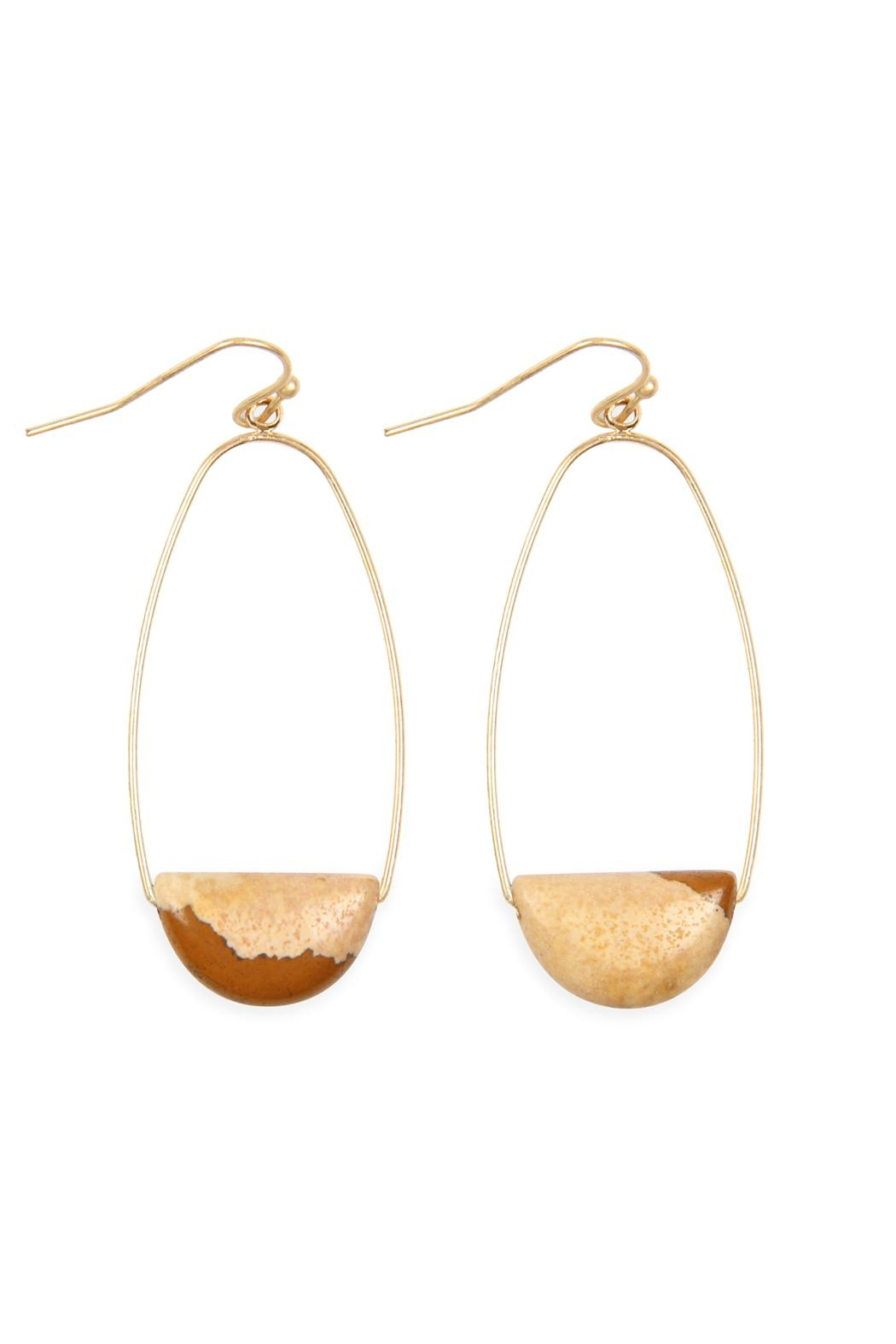 Riah Fashion Semi Precious-Stone Hoop-Earrings - Main Image
