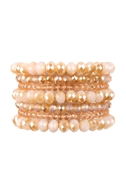 Riah Fashion Seven Lines Glass-Beads-Stretch-Bracelet - Front cropped