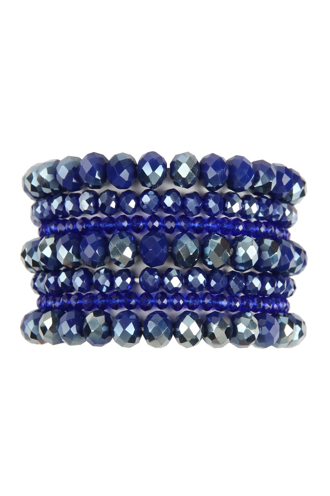 Riah Fashion Seven Lines Glass-Beads-Stretch-Bracelet - Front Cropped Image