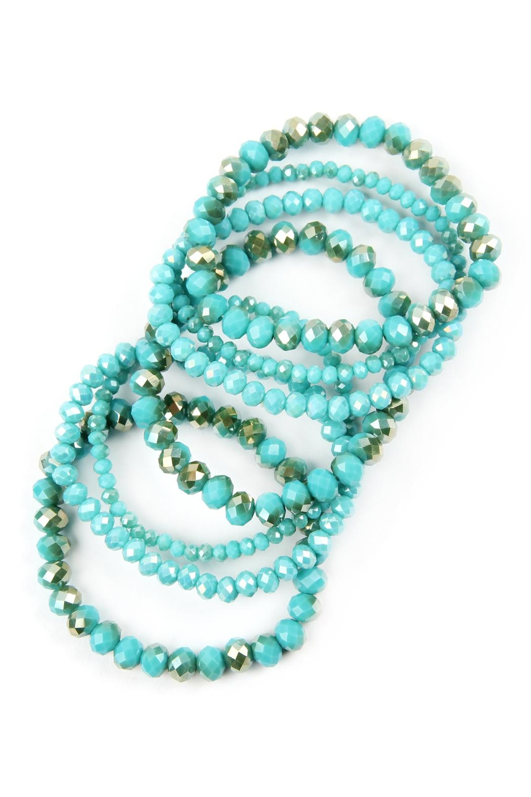 Riah Fashion Seven Lines Glass-Beads-Stretch-Bracelet - Front Full Image