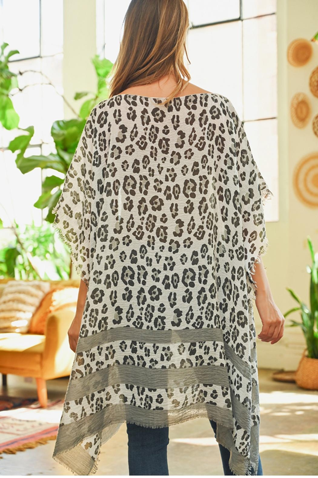 Riah Fashion Leopard See-Through Poncho - Front Full Image
