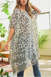 Riah Fashion Leopard See-Through Poncho - Front cropped