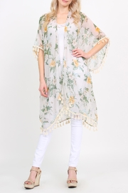 Riah Fashion Sheer-Tassel Floral Cardigan - Front cropped