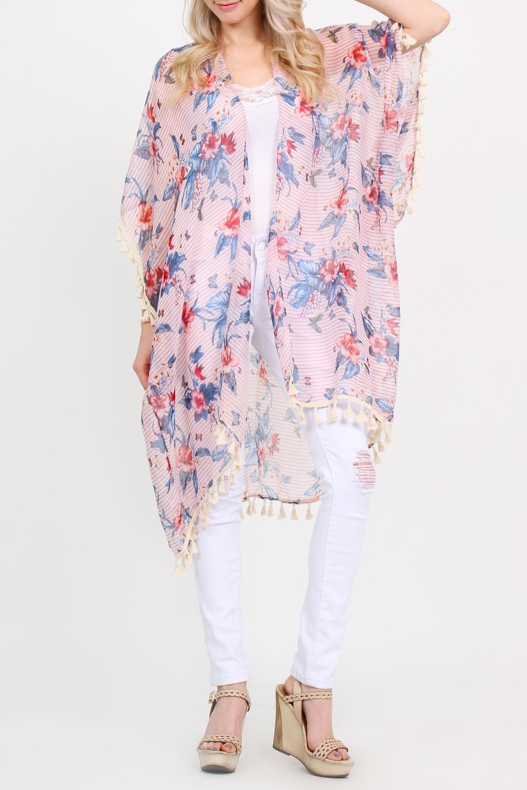 Riah Fashion Sheer-Tassel Floral Cardigan - Front Cropped Image