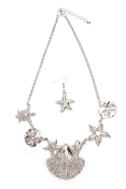 Riah Fashion Shell Statement Necklace Set - Product Mini Image