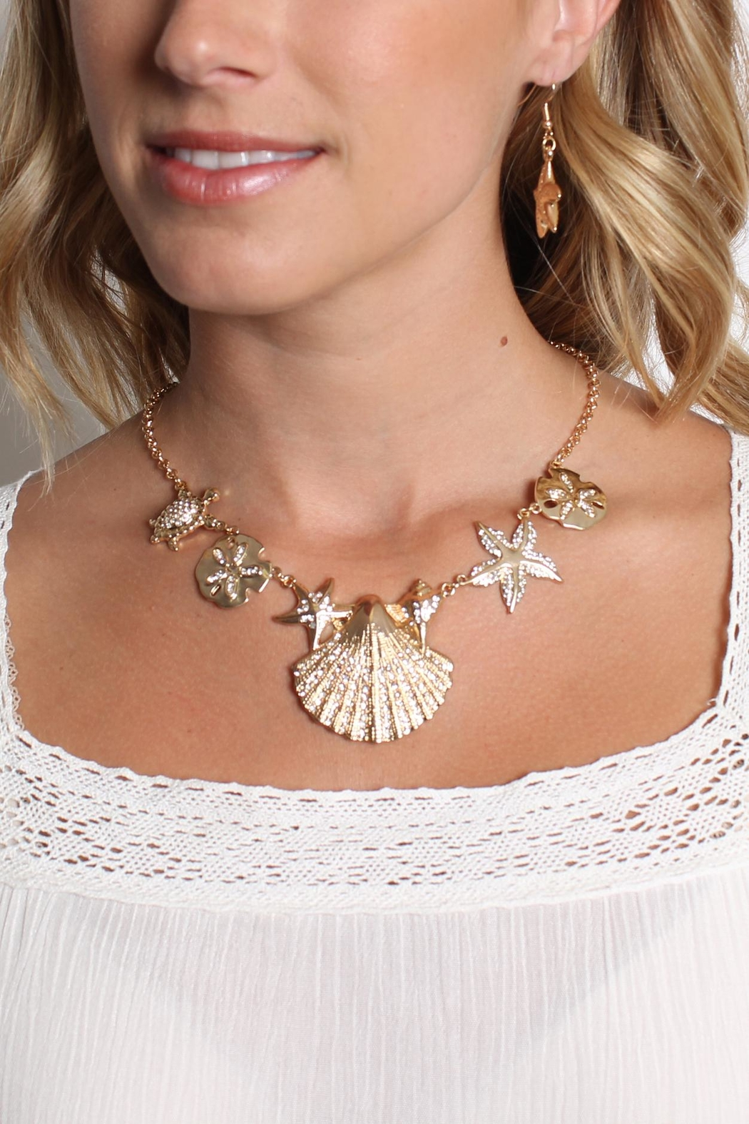 Riah Fashion Shell Statement Necklace Set - Front Full Image