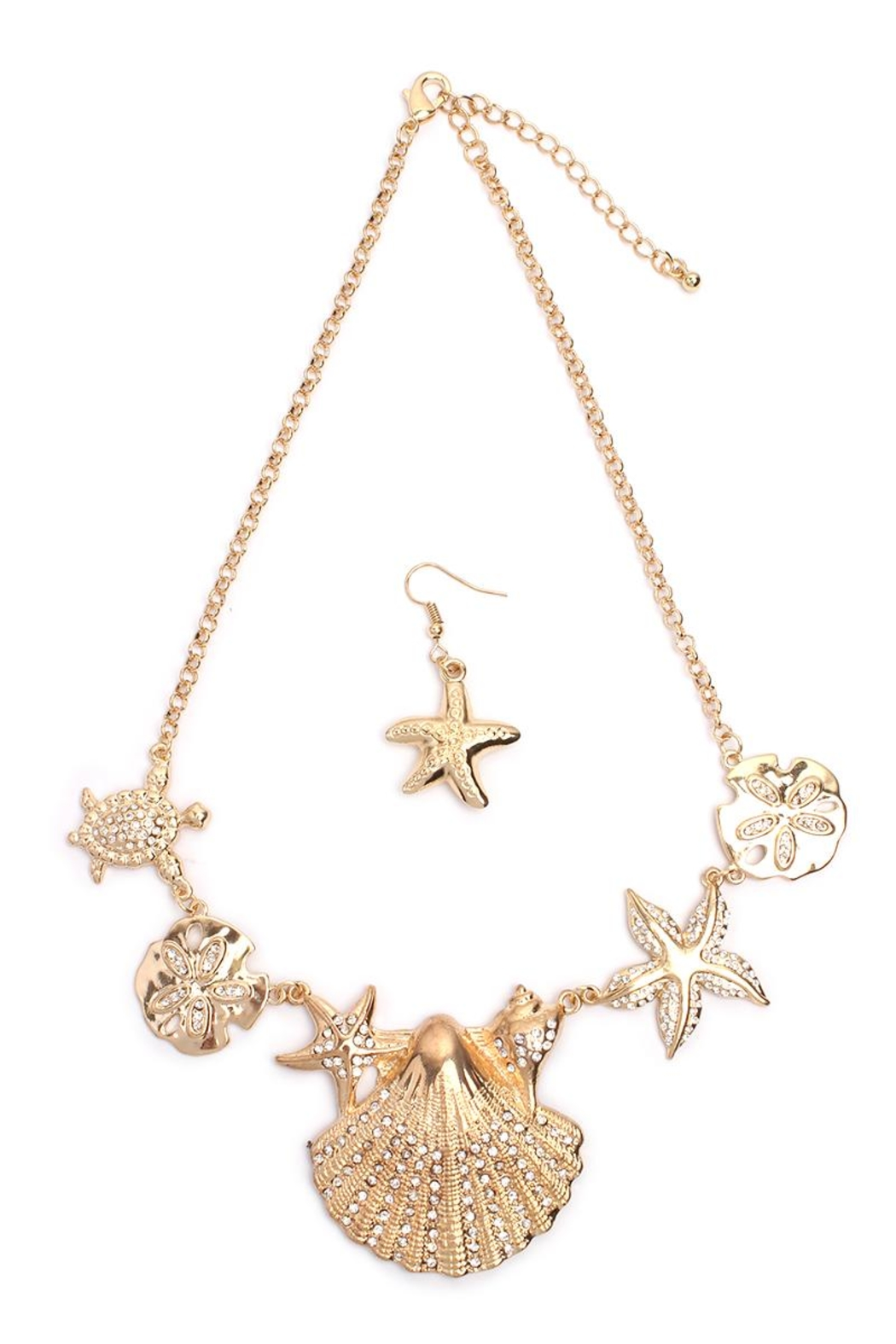 Riah Fashion Shell Statement Necklace Set - Front Cropped Image