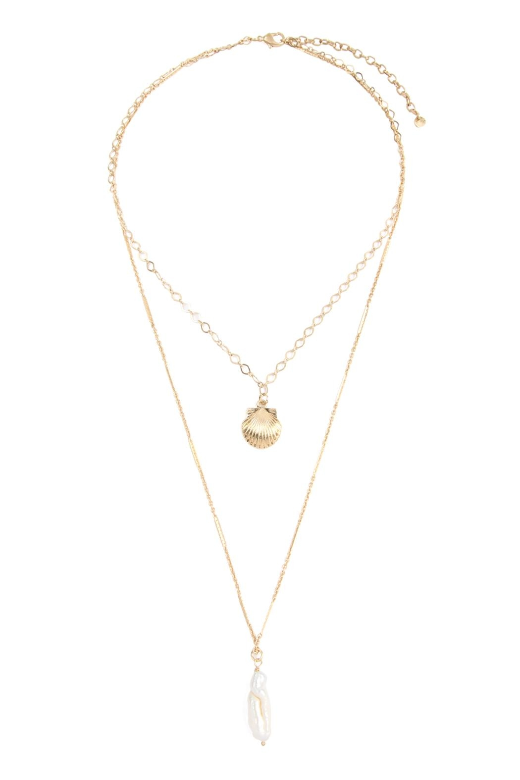Riah Fashion Shell-With-Pearl-Double-Layer-Necklace - Main Image