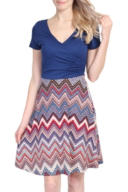Riah Fashion Short Sleeve Chevron Dress - Front cropped