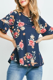 Riah Fashion Short-Sleeve-Floral-Print-Top - Front cropped