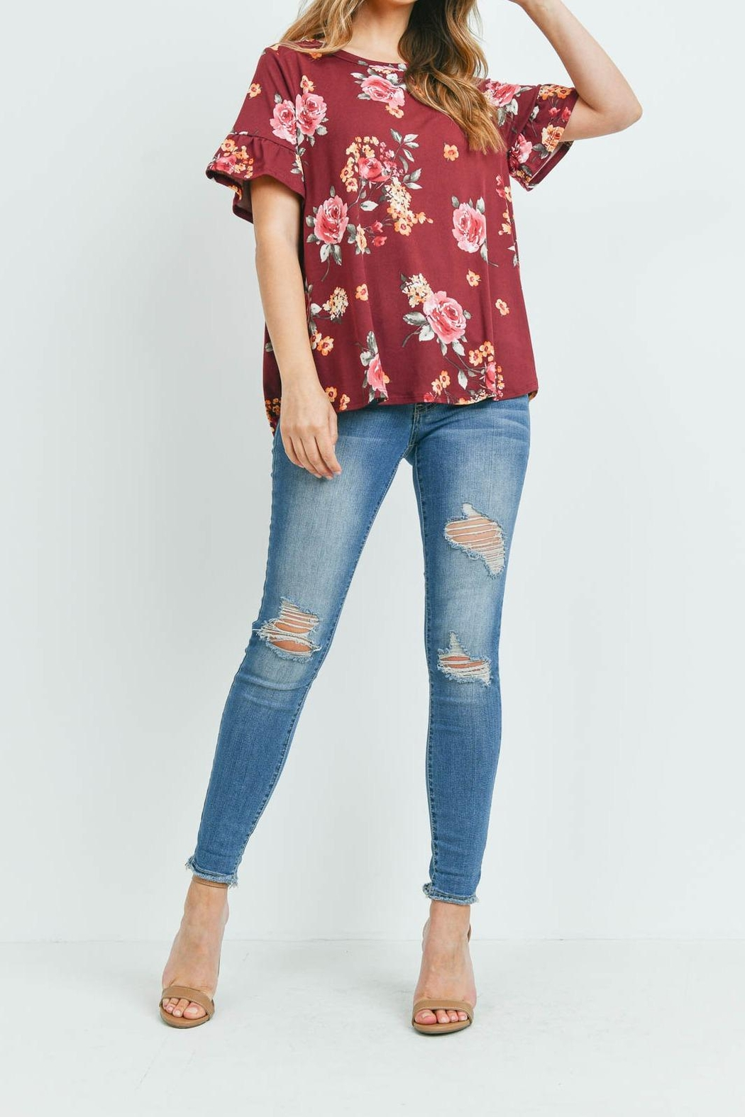 Riah Fashion Short-Sleeve-Floral-Print-Top - Side Cropped Image