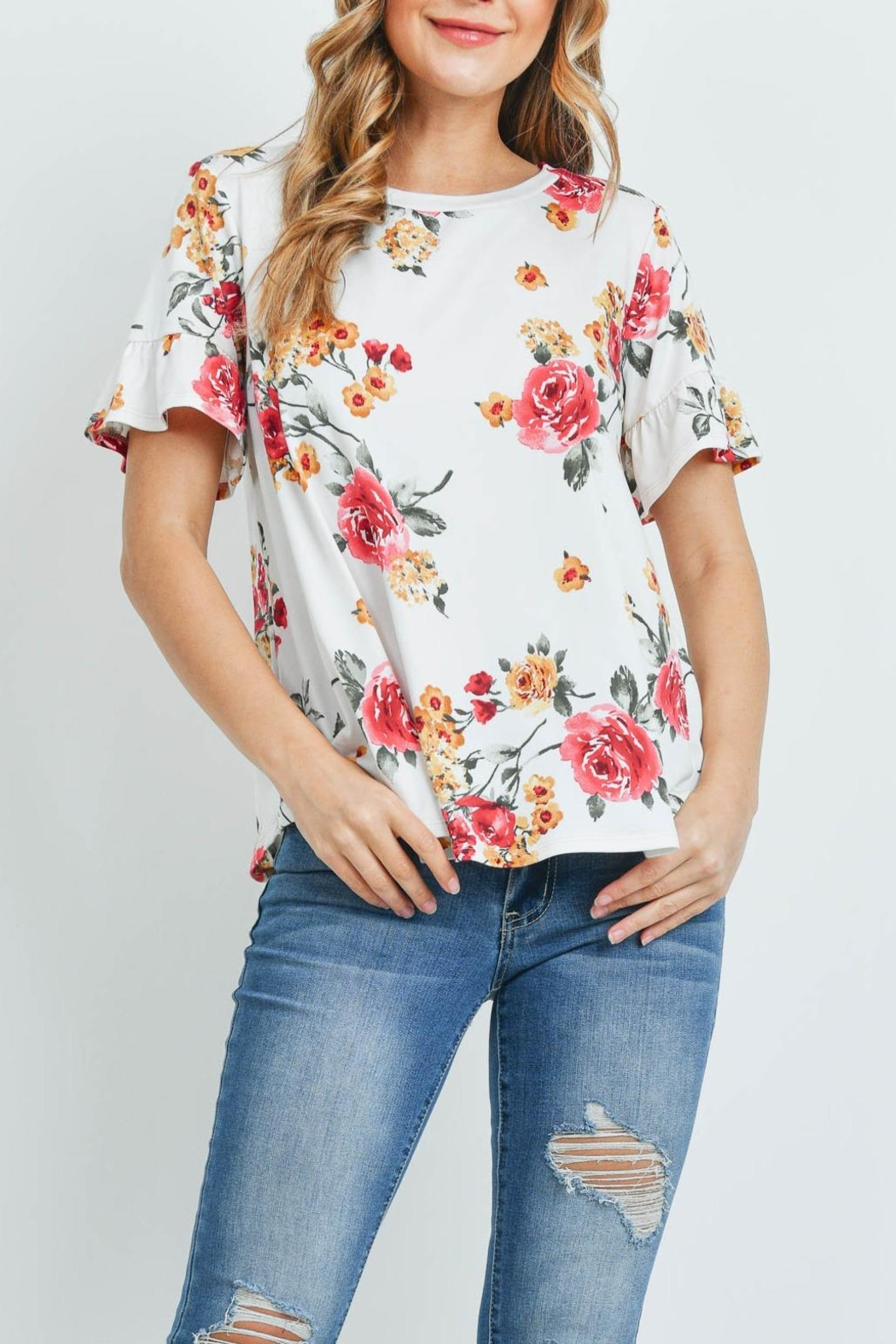 Riah Fashion Short-Sleeve-Floral-Print-Top - Front Cropped Image