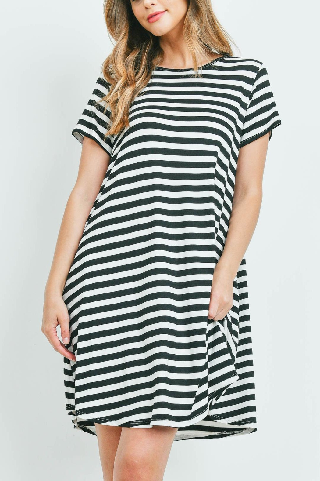 Riah Fashion Short-Sleeves-Round-Neck-Stripes-Dress - Front Cropped Image