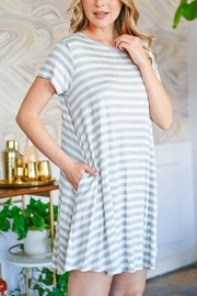 Riah Fashion Short-Sleeves-Round-Neck-Stripes-Dress - Front cropped