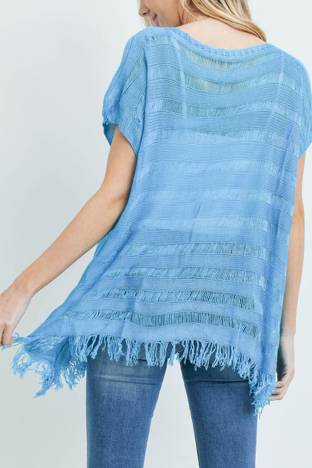 Riah Fashion Short-Sleeves See-Through-Knitted-Tassel Top - Front Full Image