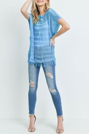 Riah Fashion Short-Sleeves See-Through-Knitted-Tassel Top - Side cropped