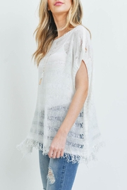 Riah Fashion Short-Sleeves See-Through-Knitted-Tassel Top - Other