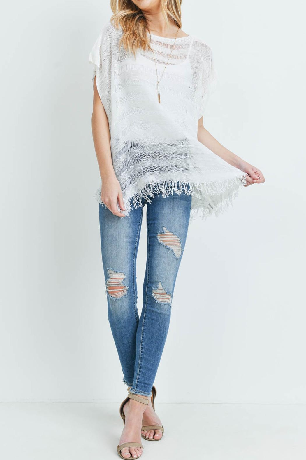 Riah Fashion Short-Sleeves See-Through-Knitted-Tassel Top - Back Cropped Image