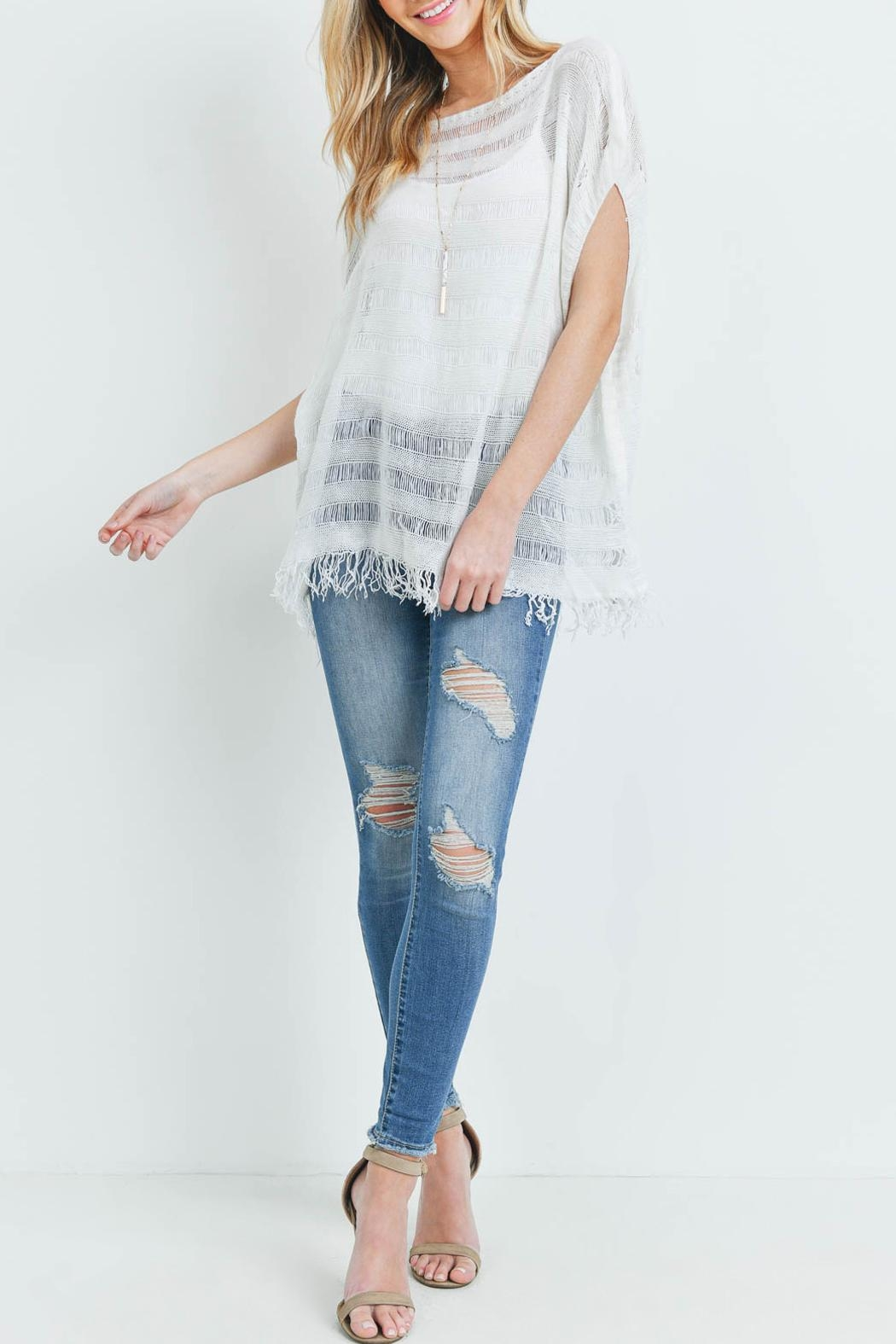 Riah Fashion Short-Sleeves See-Through-Knitted-Tassel Top - Side Cropped Image
