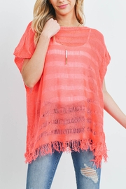 Riah Fashion Short-Sleeves-See-Through-Knitted Tassel Top - Front cropped