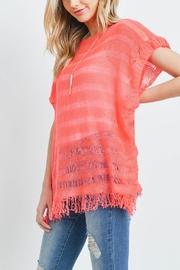 Riah Fashion Short-Sleeves-See-Through-Knitted Tassel Top - Other
