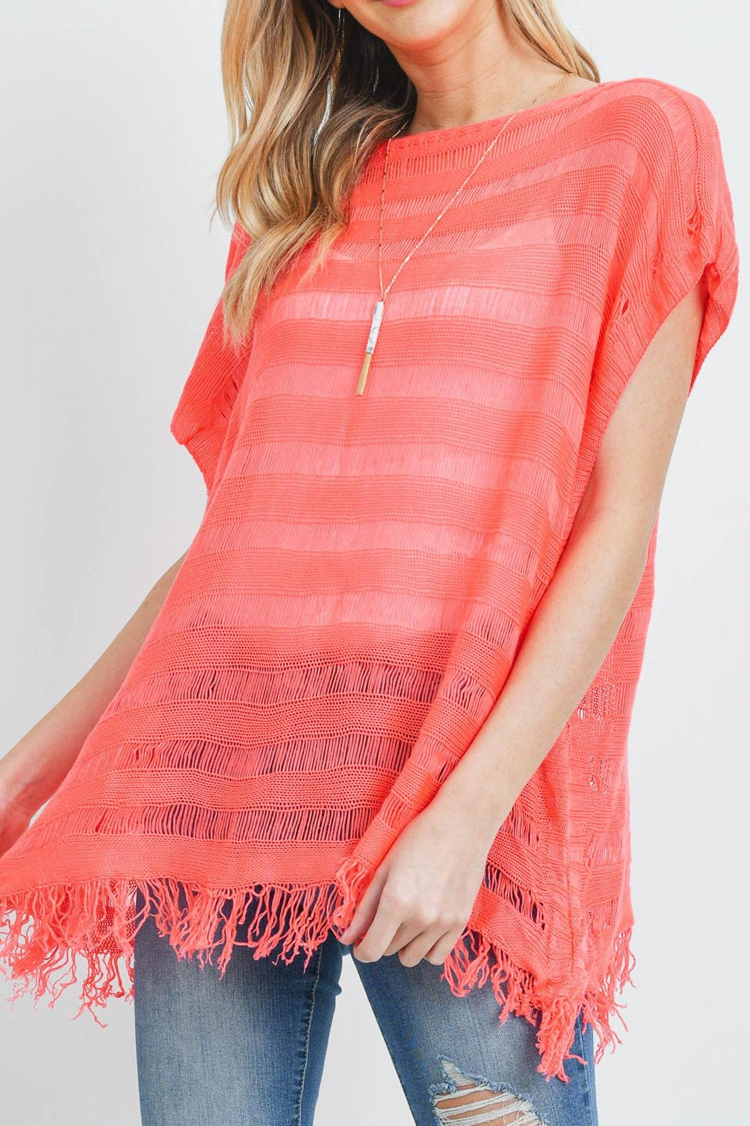 Riah Fashion Short-Sleeves-See-Through-Knitted Tassel Top - Back Cropped Image