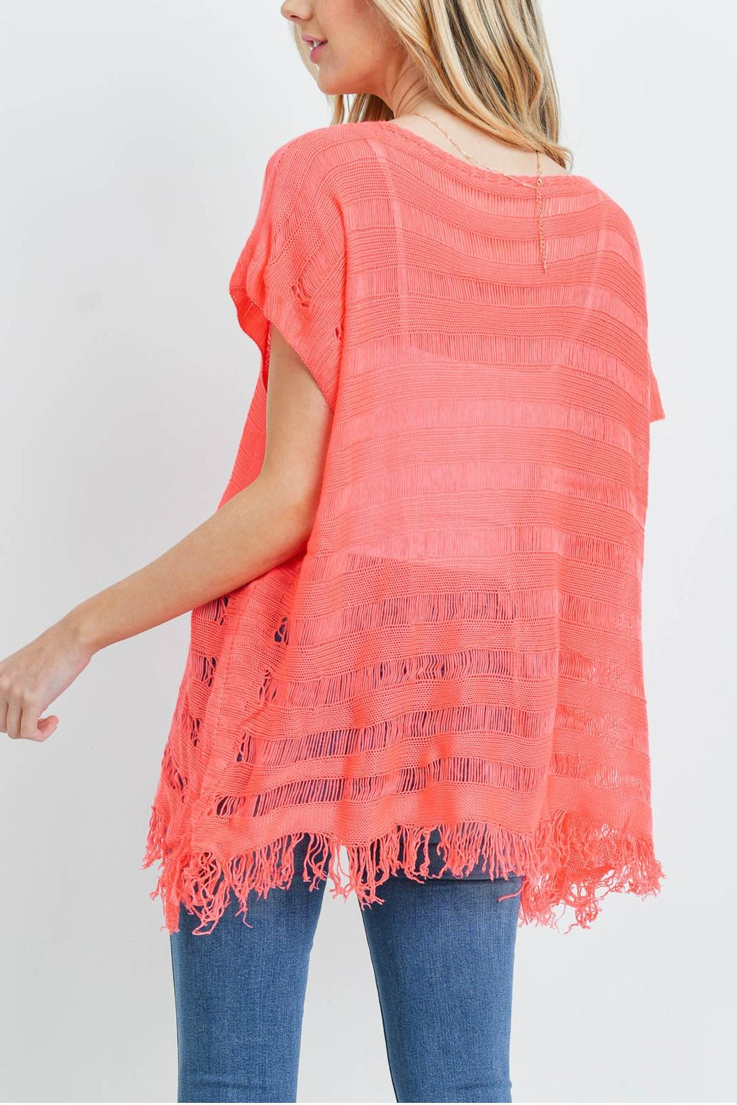 Riah Fashion Short-Sleeves-See-Through-Knitted Tassel Top - Front Full Image