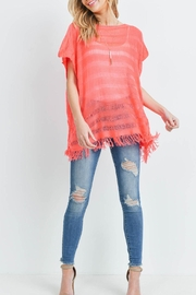 Riah Fashion Short-Sleeves-See-Through-Knitted Tassel Top - Side cropped