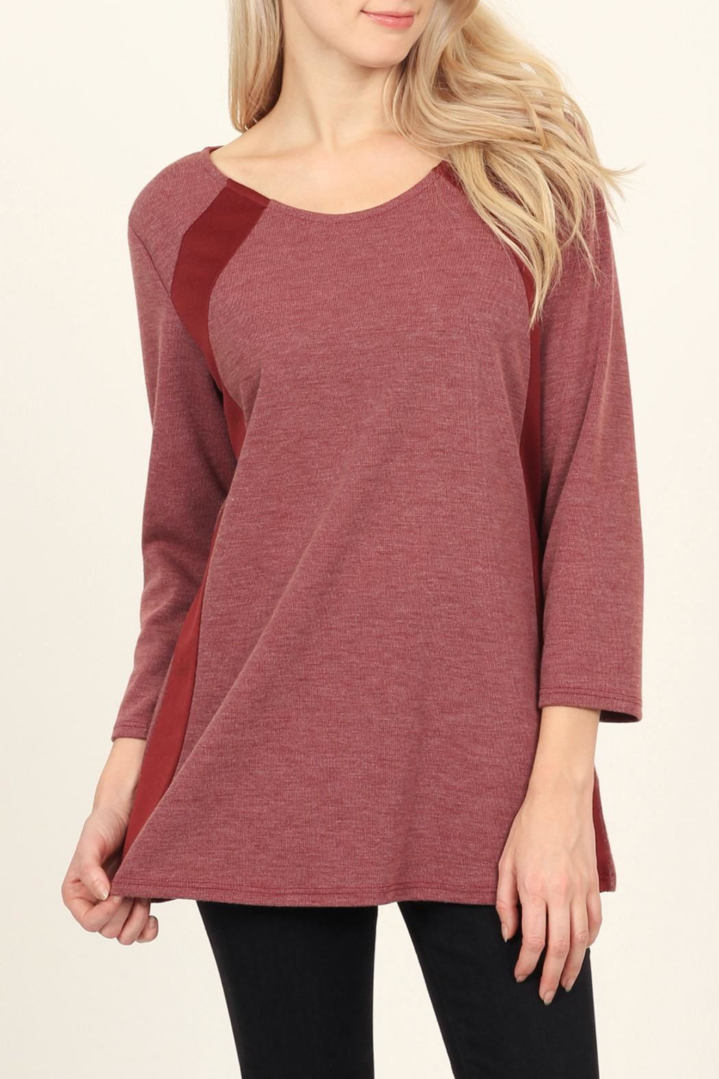 Riah Fashion Side-Accented Round-Neck Classic-Top - Front Full Image
