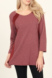 Riah Fashion Side-Accented Round-Neck Classic-Top - Front full body
