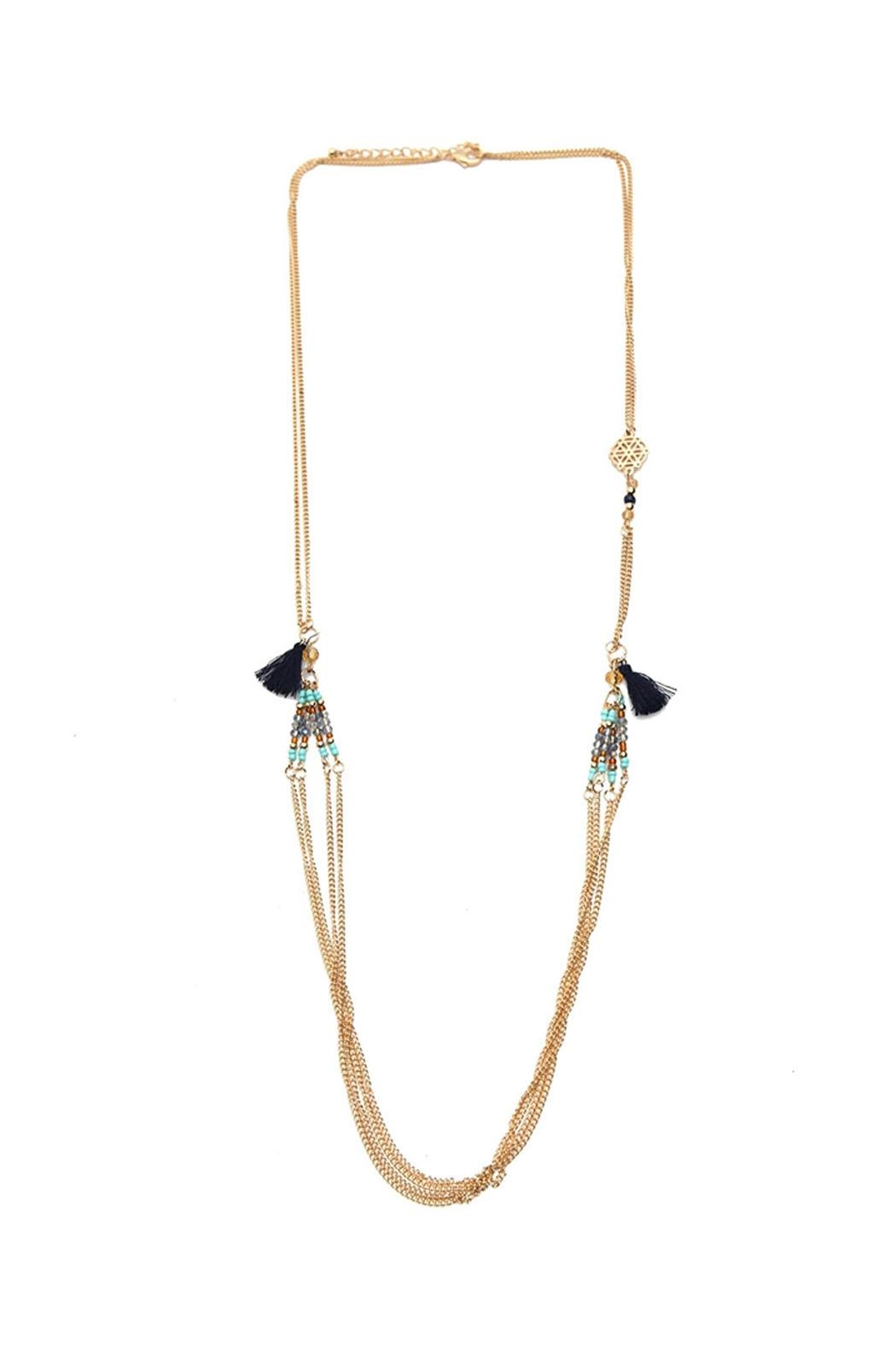 Riah Fashion Side Tassel Layered Necklace - Main Image