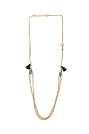 Riah Fashion Side Tassel Layered Necklace - Front cropped