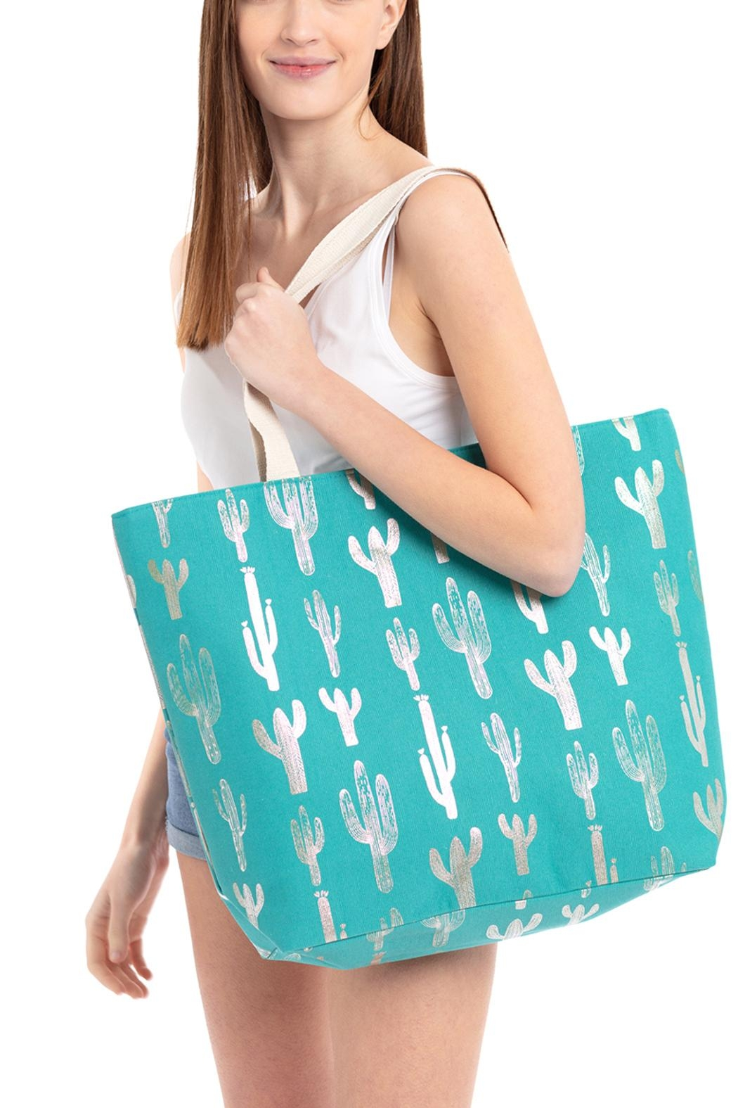 Riah Fashion Silver-Foil-Cactus Beach Bag - Front Full Image