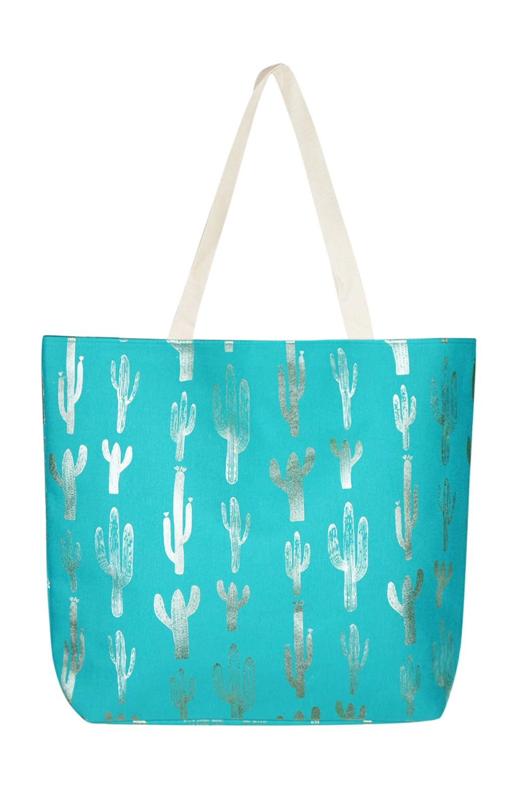 Riah Fashion Silver-Foil-Cactus Beach Bag - Main Image