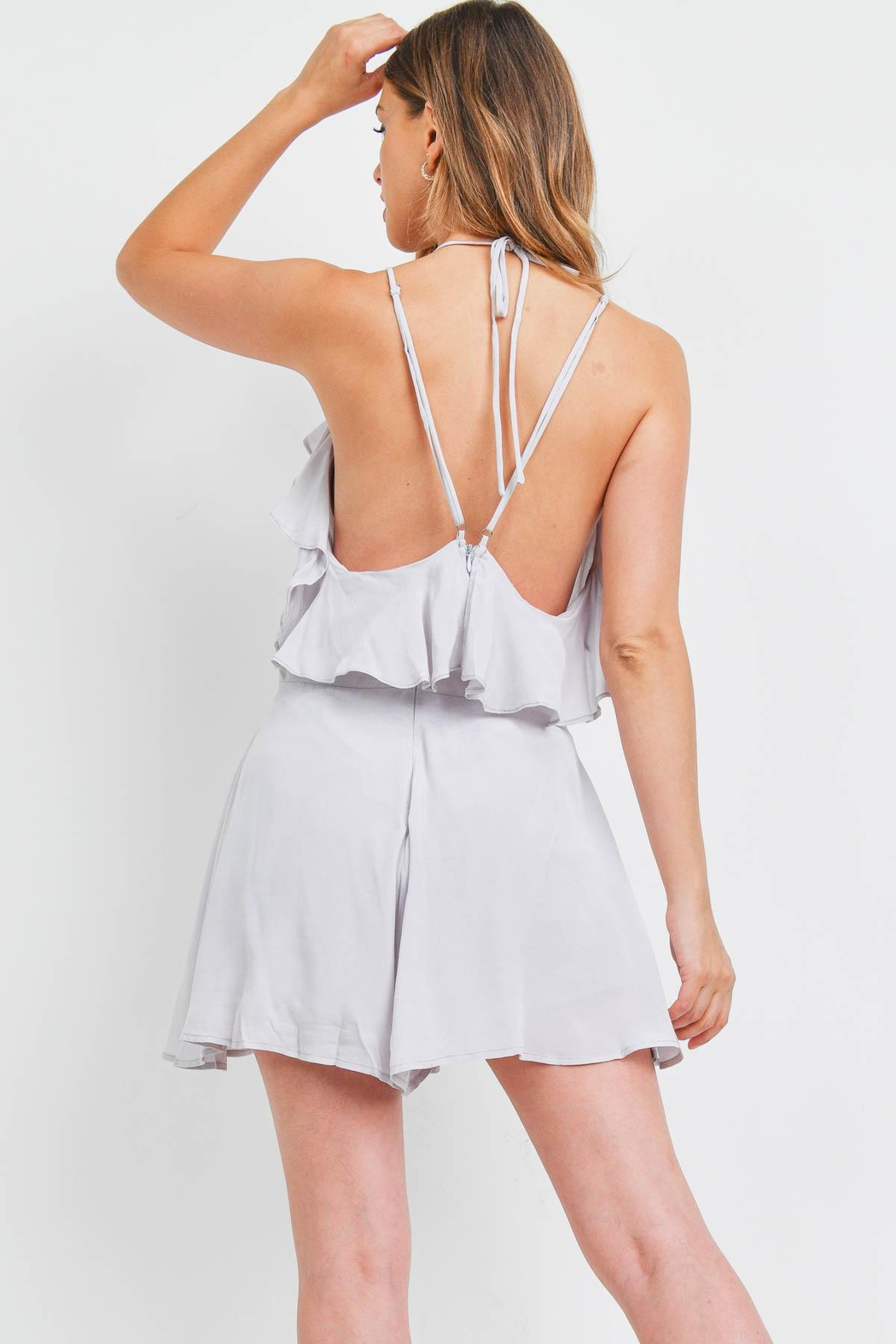 Riah Fashion Silver Romper - Front Full Image