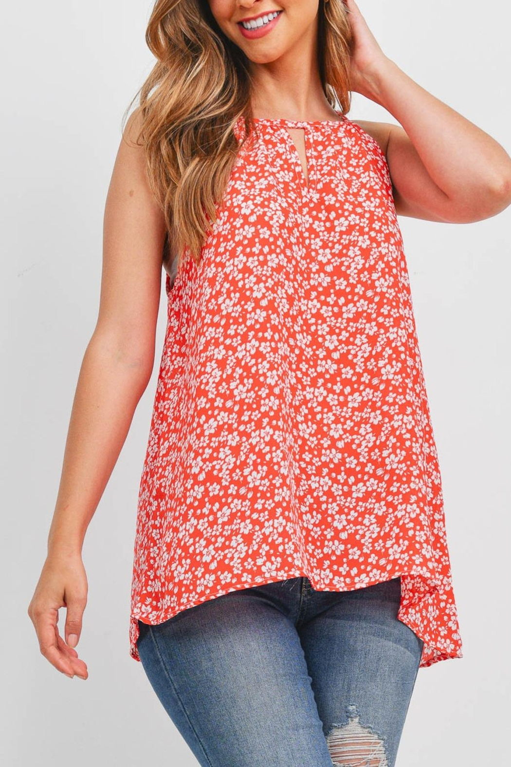 Riah Fashion Sleeveless-Keyhole-Floral-Top - Front Cropped Image